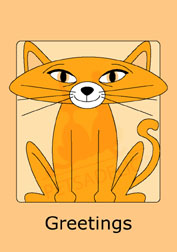 Cute Kitty in orange boxed note cards. 4 different colors included. 20 blank cards | 20 envelopes. Item#: CKNC-GC070