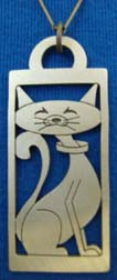 Friendly Kitty cut out lead-free pewter cat pendant