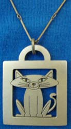 Cat-themed pewter pendant