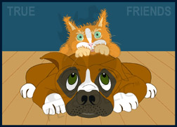 A kitten lies on top of her doggy friend's back. Art poster copy reads: True Friends. Item#: COND-P502