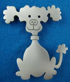 Kind-hearted Polly lead-free pewter dog brooch. Item#: DB128