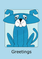 Cute Doggy in blue boxed note cards. 4 different colors included. 20 blank cards | 20 envelopes. Item#: CDNC-GC080