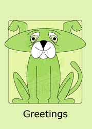 Cute Doggy in green boxed note cards. 4 different colors included. 20 blank cards | 20 envelopes. Item#: CDNC-GC080