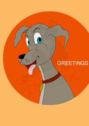 Digital art dog-themed greeting card: Picture of a happy-go-lucky cartoon dog smiling. Outside card copy says: Greetings