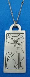 Friendly Doggy lead-free pewter solid rectangle pendant. Item#: DPSR303