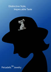 Silhouette of woman with a Petsadelic dog-themed brooch pinned to her hat