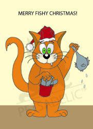 Cartoon cat holds a fish in one hand and a bucket of fish in the other, boxed greeting cards. 20 blank cards | 20 envelopes. Front card copy reads: Merry Fishy Christmas! Item#: MFC-GC033