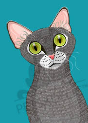 Digital art poster: Oliver the grey tabby cat